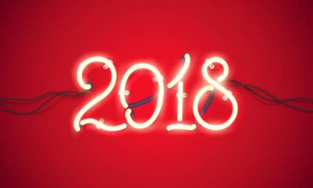 Neon sign 2018 vector art illustration