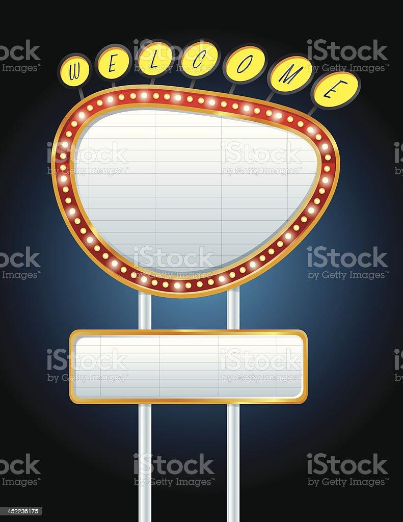 Neon Sign at Night royalty-free stock vector art