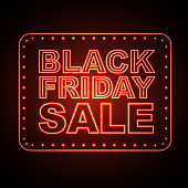 Neon sign black friday open. Vintage electric signboard. Road sign