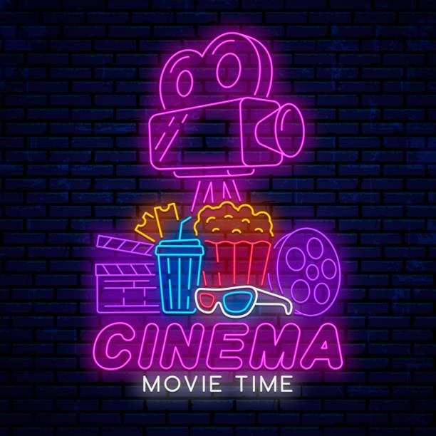 Neon sign for movie theater. Neon sign for movie theater isolated on realistic wall background. Design for advertising, poster, banner, billboard, signboard. Neon emblem, logo, sign for the cinema. Movie time. muziekfestival stock illustrations
