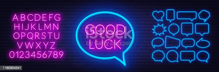 Neon sign good luck in frame on dark background. Set of neon speech bubbles and the alphabet on a dark background. Template for design.