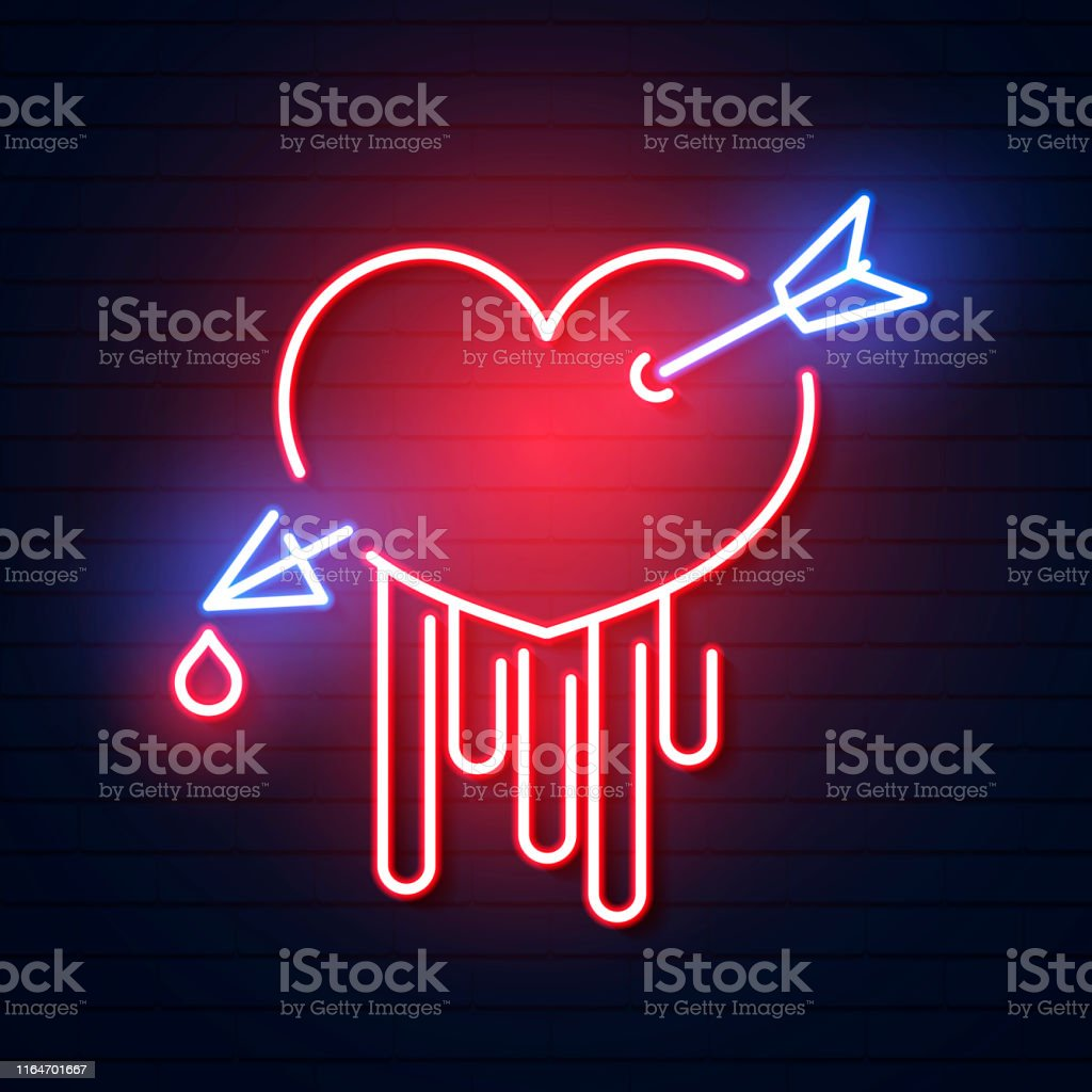 Neon Sign Heart With Arrow On Dark Background Design Element
