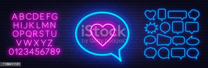 Neon sign like in speech bubble frame on dark background. Set of neon speech bubbles and the alphabet. Template for design.
