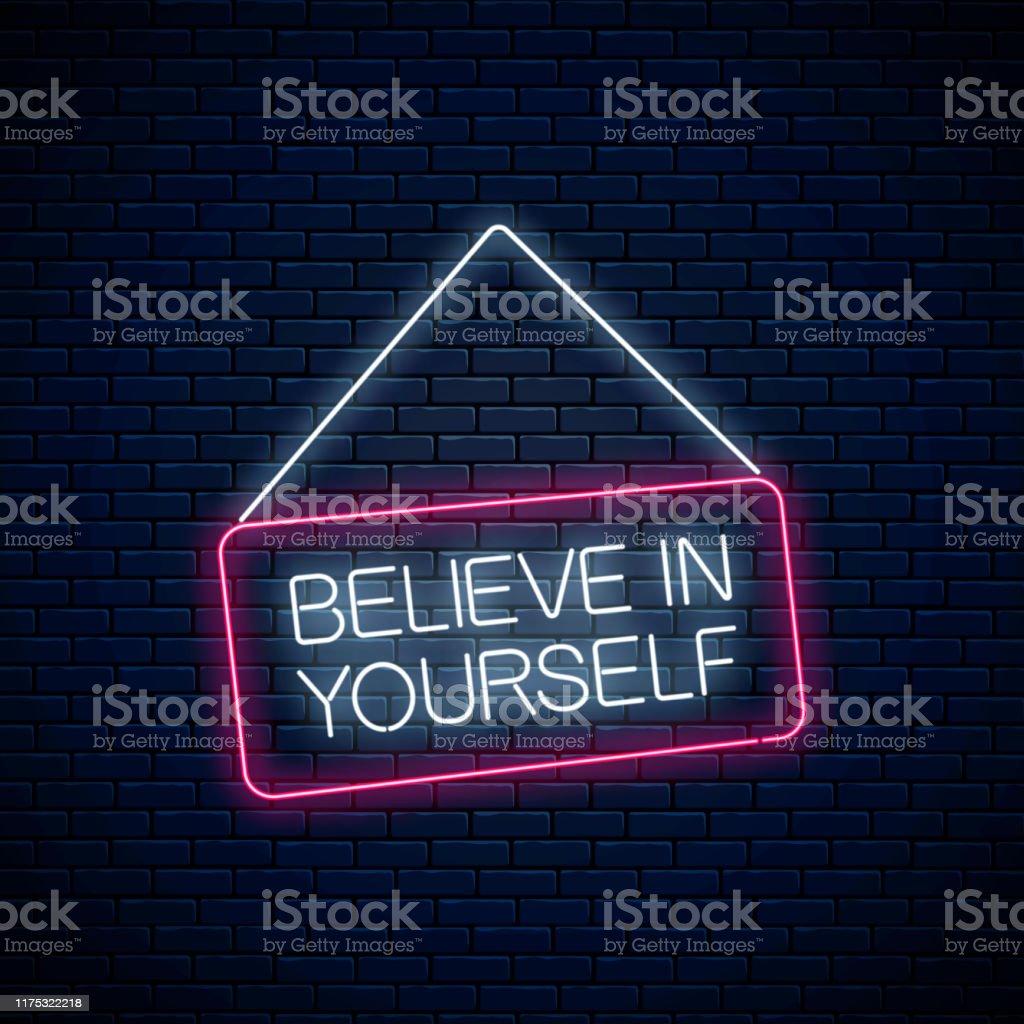 Neon Zeichen des Glaubens an sich selbst Inschrift auf hängenden Brett. Motivation Zitat cdll, um sich in Neon-Stil zu vertrauen - Lizenzfrei Banneranzeige Vektorgrafik