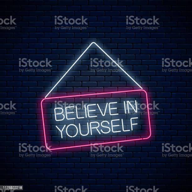 Neon Zeichen Des Glaubens An Sich Selbst Inschrift Auf Hängenden Brett Motivation Zitat Cdll Um Sich In Neonstil Zu Vertrauen Stock Vektor Art und mehr Bilder von Banneranzeige