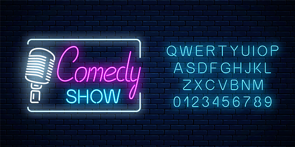 Neon sign of comedy show with retro microphone symbol with alphabet. Humor monolog stand up glowing signboard.
