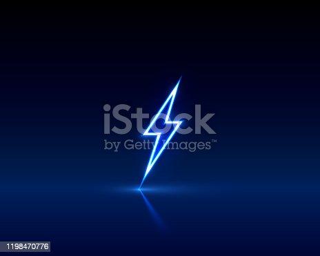 Neon sign of lightning signboard on the black background. Vector illustration