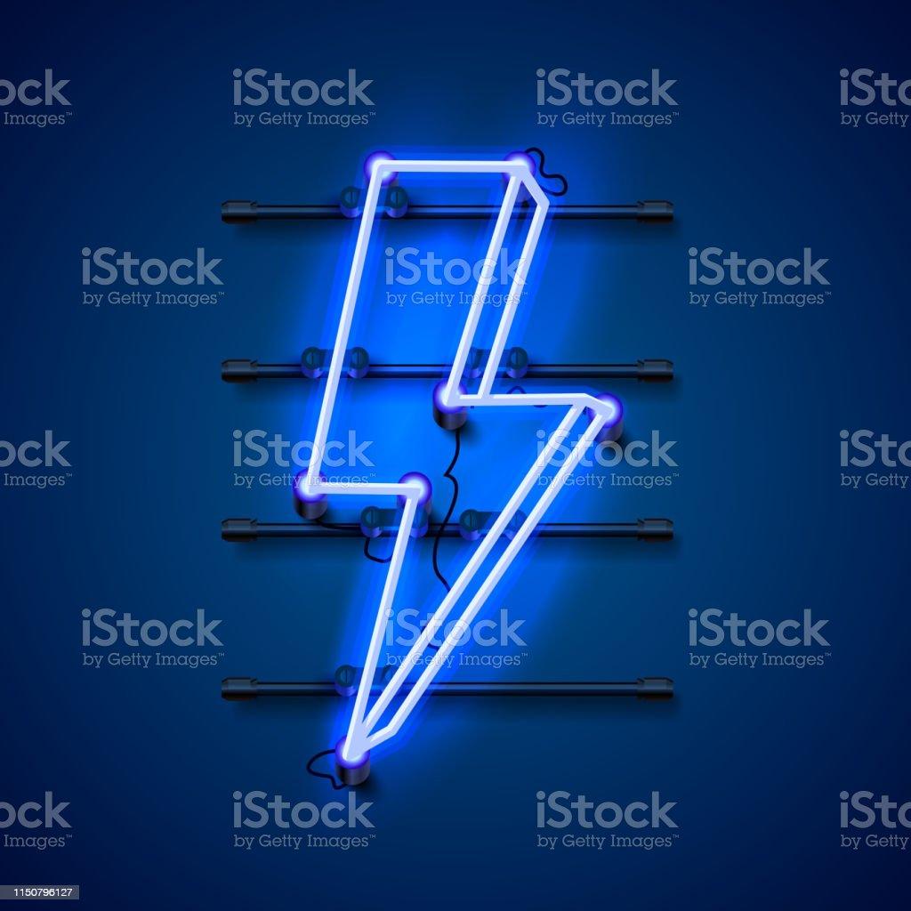 Neon tecken på blixten skylt på den blå bakgrunden. Vektor illustration - Royaltyfri Abstrakt vektorgrafik