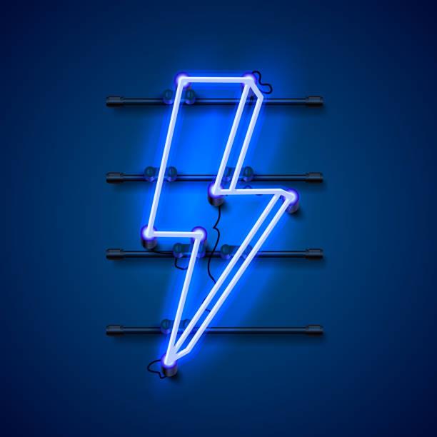 bildbanksillustrationer, clip art samt tecknat material och ikoner med neon tecken på blixten skylt på den blå bakgrunden. vektor illustration - hand tänder ett ljus