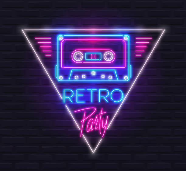 Neon Sign of Tape Cassette in Triangle with 'Retro Party' Text in Style of 80s. Design Template vector art illustration