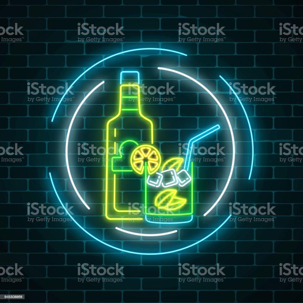 Leuchtreklame Von Tequila Bar Flasche Mit Getränk Im Glas Im Kreis ...