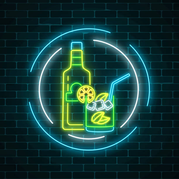 Neon sign of tequila bar with bottle and drink in glass in circle frames. Mexican alcohol drink pub emblem in neon style vector art illustration