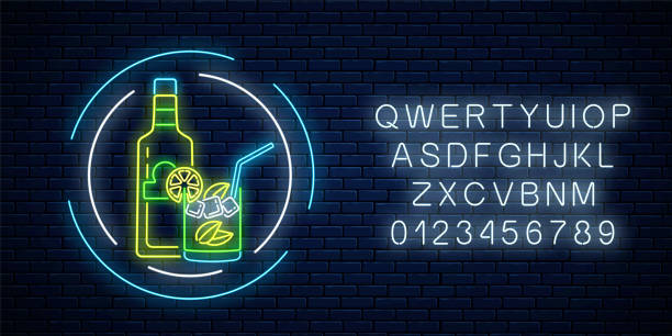 neon sign of tequila bar with bottle and drink in glass with alphabet. mexican drink emblem in neon style. - bartender stock illustrations