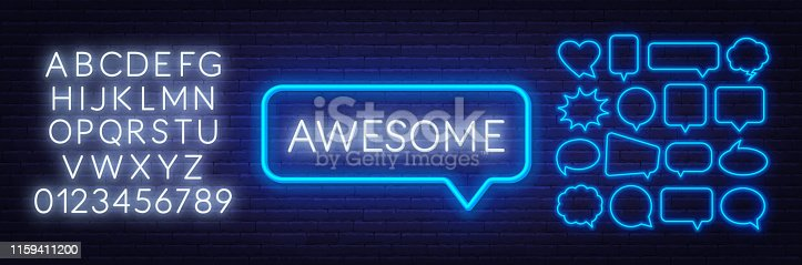 Neon sign of awesome in speech bubble frame on dark background. Set of neon speech bubbles and the alphabet on a dark background. Template for design.