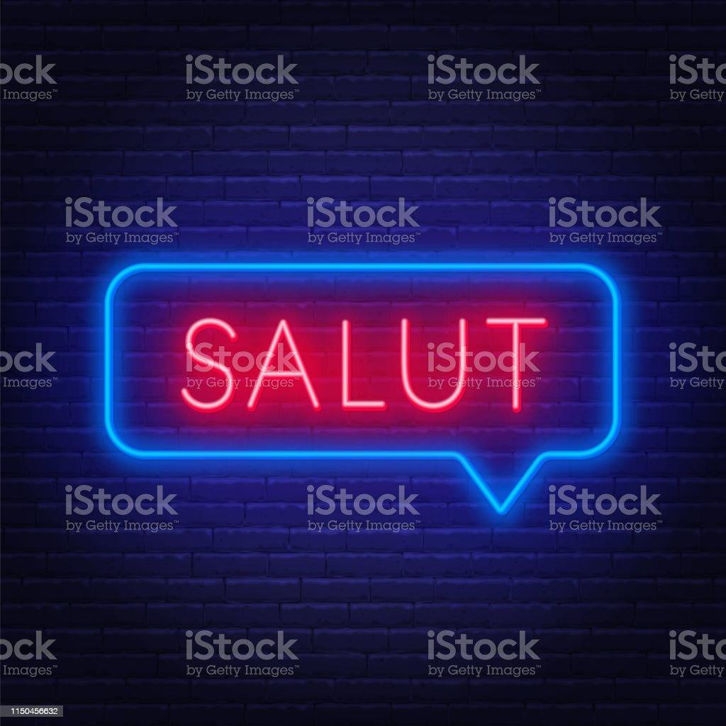 Neon Teken Van Woord Salut In Speech Bubble Frame Op Donkere