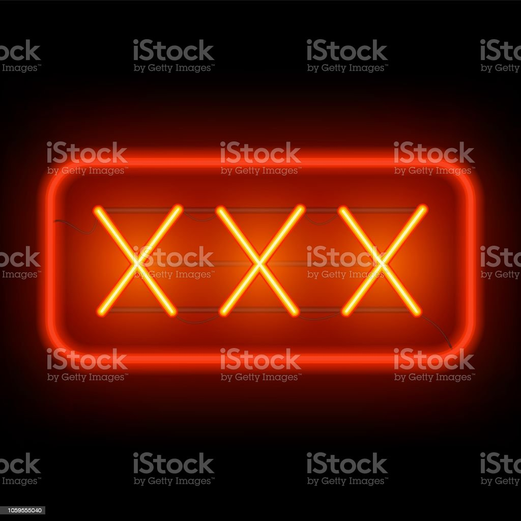 XXX neon sign on a dark background.