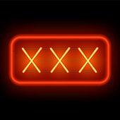 XXX neon sign on a dark background.