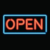 Neon Sign Open Icon. No gradients were used when creating this illustration.