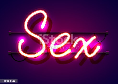 Neon sign, the word Sex on dark background. Night life Background for your design, greeting card, banner. Vector illustration