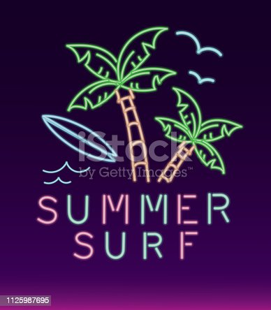 Vector illustration of a Neon sign tropical summer fun design. Includes tropical elements. Retro 80s style. Fully editable
