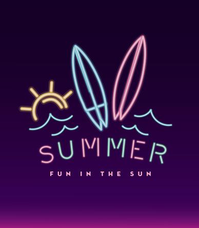 Neon sign tropical summer fun design