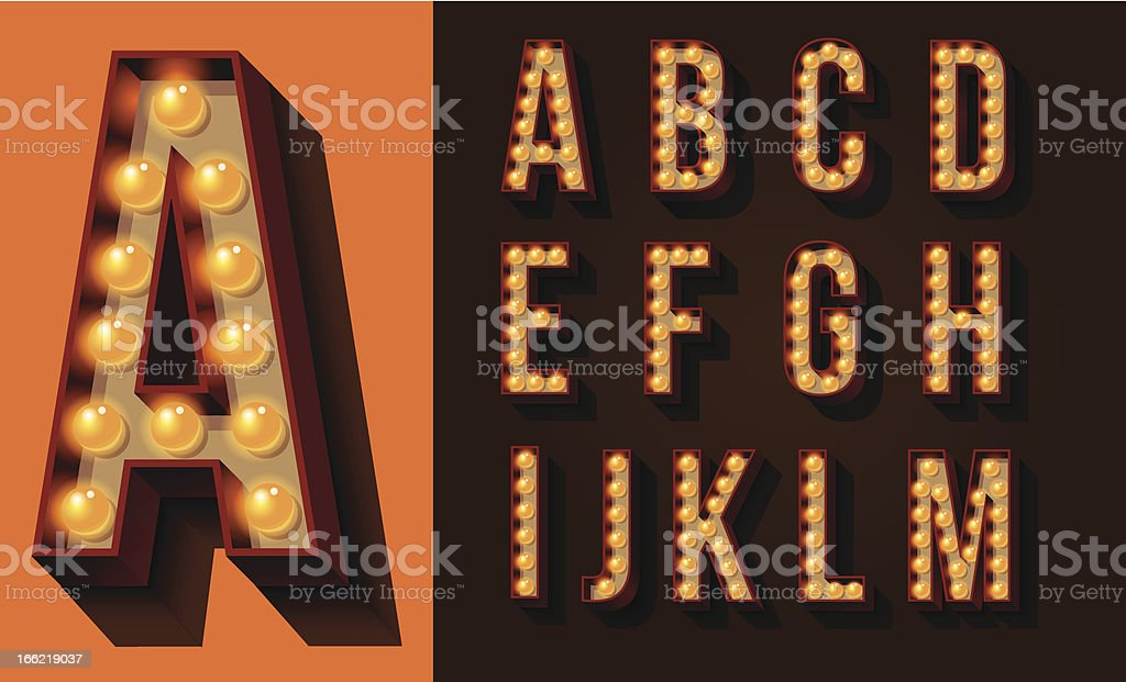 Neon Sign Type Set of isolated Capital Letters 20th Century Style stock vector