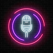 Neon sign with microphone in round frame. Nightclub with live music icon. Glowing street sign of bar with karaoke and live singers. Sound cafe icon. Rock show poster. Vector illustration.