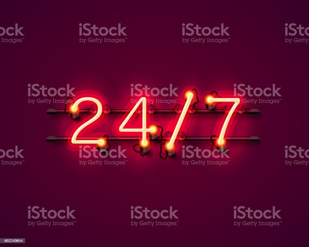 Neon signboard 24 7 open time. vector art illustration