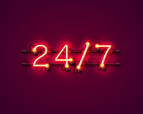 Neon Schild 24 7 Offene Zeit Stock Vektor Art und mehr Bilder von 24 Hrs - englischer Satz