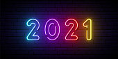 2021 neon signboard. Bright colorful sign. Festive vector banner.