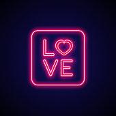 Neon signboard Love. Valentine romance sign.