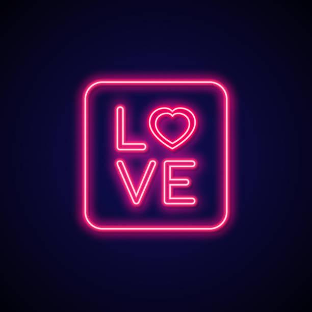 Neon signboard Love. Valentine romance sign. Neon signboard Love. Valentine romance sign. Vector illustration online dating stock illustrations