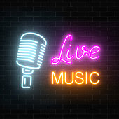Neon signboard of nightclub with live music. Glowing street sign of bar with karaoke and live singers. Sound cafe icon. Rock show poster. Vector illustration.