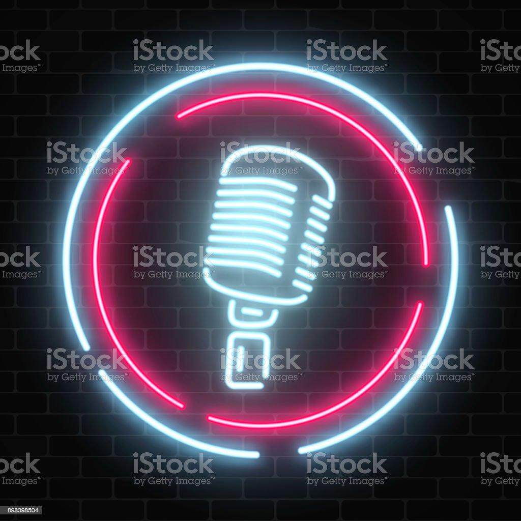 Neonschild Mit Mikrofon Im Runden Rahmen Straßenschild Der Glühenden ...