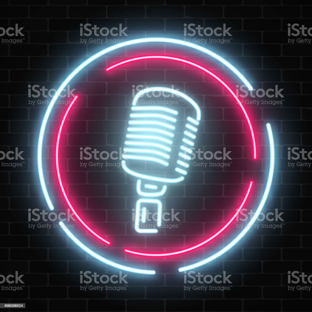 Neon signboard with microphone in round frame. Glowing street sign of bar with karaoke and live singers. vector art illustration