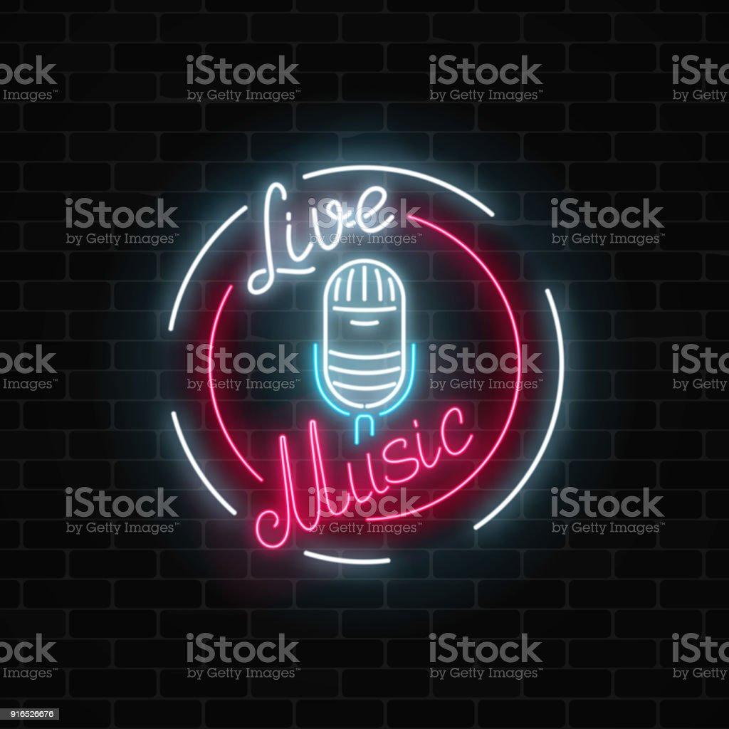 Neonschild Mit Mikrofon Im Runden Rahmen Nachtclub Mit ...