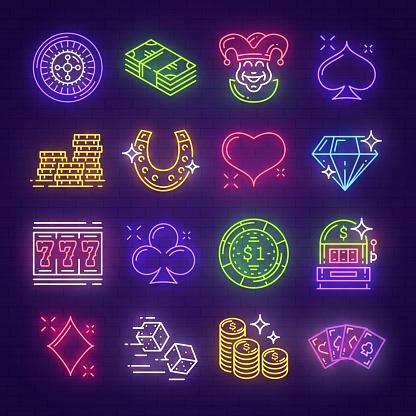 Neon signboards for casino, poker, gambling