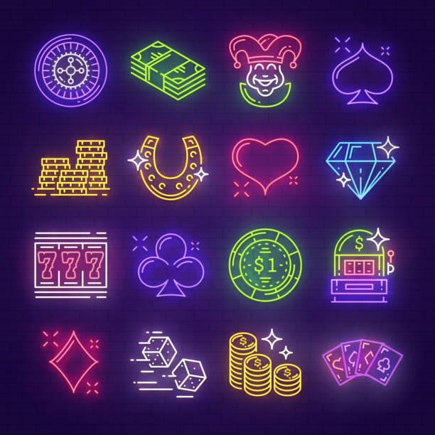 illustrazioni stock, clip art, cartoni animati e icone di tendenza di neon signboards for casino, poker, gambling - las vegas