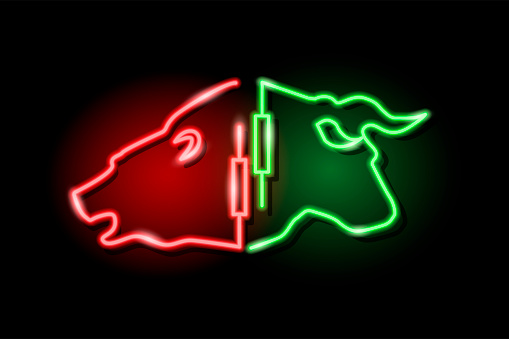 Neon silhouette of bull and bear heads with japanese candlestick symbol isolated on black background. Stock market concept. Vector 10 eps illustration.