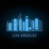 Neon silhouette of Los Angeles city. Glowing blue city landscape. Vector banner.