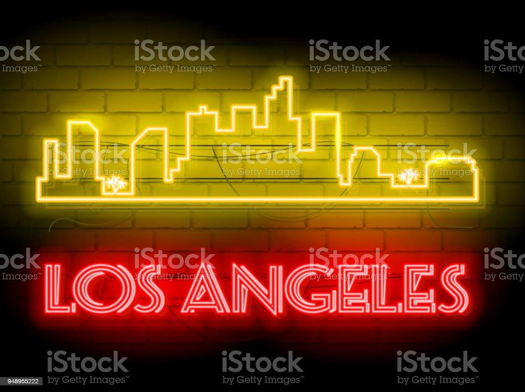 Neon Silhouette Of Los Angeles City Skyline Vector Background Neon ...
