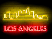 Neon silhouette of Los Angeles  (United States) city skyline vector background. Neon style sign illustration. Illustration for t shirt printing or wall decoration.