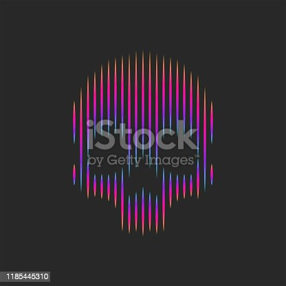 Neon skull logo artwork striped pattern t-shirt print emblem or grange tattoo vector illustration, gradient lines shape