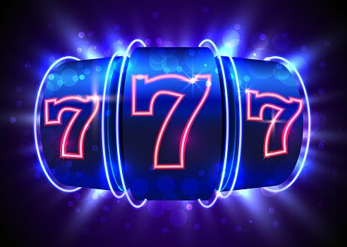 Neon slot machine wins the jackpot. 777 Big win casino concept.