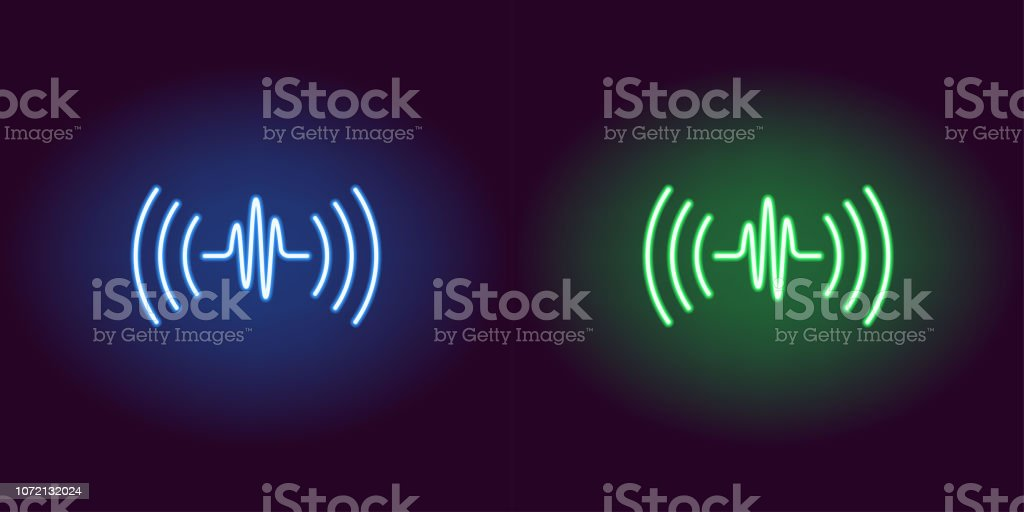 Neon Sound Wave Glowing Sign Vector Voice Sound Stock Illustration