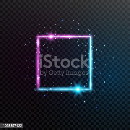 Neon square frame. Bright blue and violet glowing banner with sparkles, flares and stars. Electric bright 3d border. Shining dynamic banner. Glowing futuristic frame. Vector illustration.