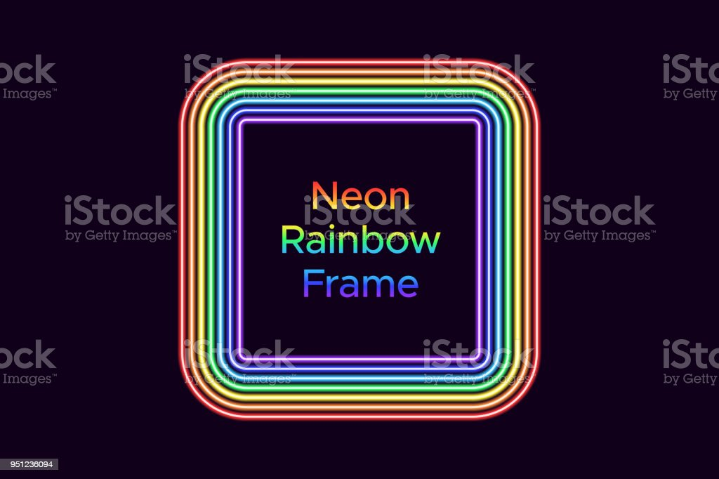 Neon square frame in rainbow color