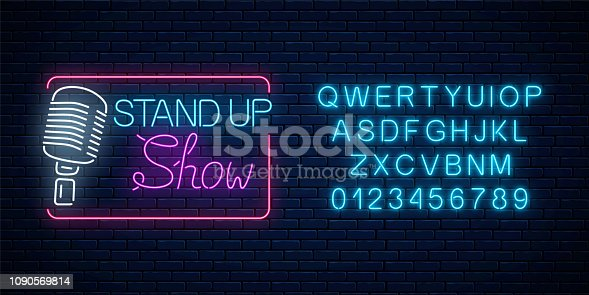 Neon stand up show sign with retro microphone on a brick wall background. Comedy battle glowing signboard with alphabet. Vector illustration.