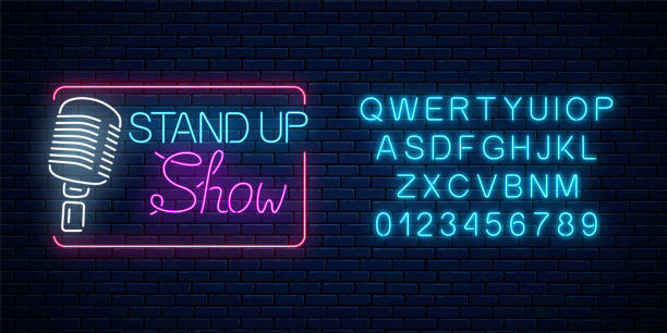 Neon stand up show sign with retro microphone. Comedy battle glowing signboard with alphabet. Neon stand up show sign with retro microphone on a brick wall background. Comedy battle glowing signboard with alphabet. Vector illustration. nightlife stock illustrations