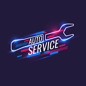 Neon style, auto service poster. Vector illustration and template.